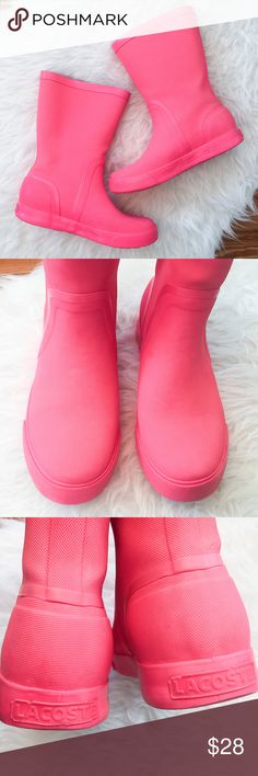 """LACOSTE Welby Fluo Rain Boots Neon Pink """" LACOSTE """"      Welby Fluo Rain Boots     Retail Price : $120     Neon Pink   Size : 6.5  Great used condition. Some wear especially on the heels. """"JK"""" written in pink inside soles. They still have life in them.  Please see the pictures.  Thank you for looking my item. Please check out my other items. Lacoste Shoes Winter & Rain Boots"""