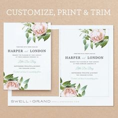 100% Editable Template - No Locked Fields - For Word on PC or Pages on Mac Use your home computer to customize and print your own stunning wedding invitations, instantly! These savvy, easy to use wedding templates make DIY a breeze. HOW IT WORKS: • Download the template instantly •