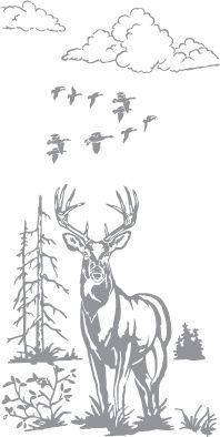 Glass etching stencil of Stag and Ducks. In category: Birds, North American Mammals, Trees, Water Fowl:
