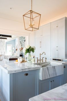 Fresh Ideas for Fall Home Tour! - Addison's Wonderland Peek inside our light blue gray kitchen cabinetry with a custom marble farmhouse apron front sink, brass faucet and lighting and white marble countertops. All accessorized with the cutest accessories and decor from HomeGoods! Sponsored by HomeGoods. #sponsored