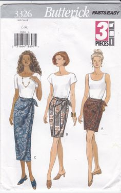 Long or Short Wrap Skirt With Tie Ends Butterick by Ziatacraft