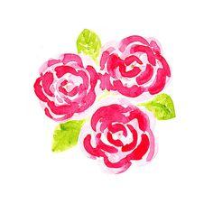 Rose Watercolor Art: Watercolor Flower Painting  by LeavesOfPaper