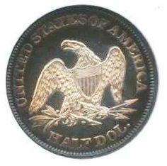 1864 Proof cameoSeated Liberty  Half Dollar Reverse....