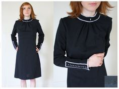 60s Mod Wool Gay Gibson Dress  M by nichestyle on Etsy