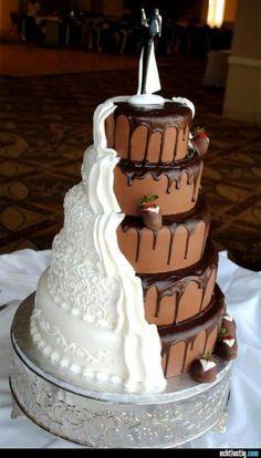 bolo de casamento de duas cores