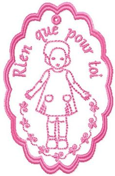 Instant Download Machine Embroidery  Label  nice girl  French style download