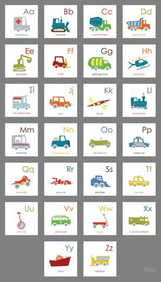 Cody would go nuts for these! Vehicle Alphabet