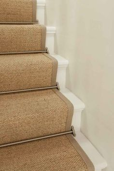 Sisal Stair Runner W Brushed Nickel Rods Painted Stairs Sisal Stair Runner, Staircase Runner, Stair Runner Rods, Hallway Runner, House Stairs, Carpet Stairs, Hall Carpet, Carpet Runner On Stairs, Runners For Stairs