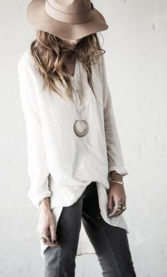 Boho Street Style Inspiration: Simple White Top + Bohemian Jewelry Look #johnnywas