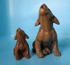 Vintage Swiss Black Forest Wood Carving Mother Dog Pup Huggelr-Wys Brienz #BlackForest #HuggelrWys