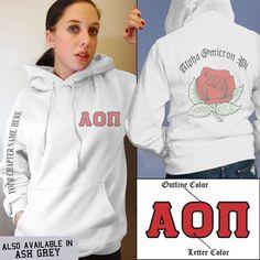 Alpha Omicron Pi Crest Sweatshirt $39.95 #Greek #Sorority #Clothing #AlphaOmicronPi #AOPi #Crest #Hoodie #Sweatshirt