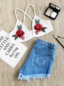 Rose Embroidered Patch Ribbed Criss Cross Back Bralet