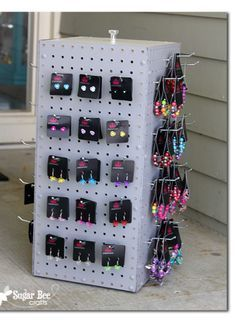 here's how to make your own spinning display pegboard case - so much cheaper than buying one - - Sugar Bee Crafts: Spinning Display Rack! Not my idea! But totally you need to make! Jewelry Rack, Jewellery Storage, Diy Jewelry, Jewelry Holder, Necklace Holder, Jewelry Box, Jewellery Displays, Teen Jewelry, Jewelry Chest