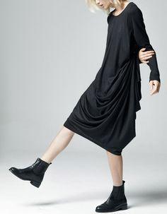 Essential Long Sleeve Original Ofelya Multi-Wear Loose Assimetric Draped Twist Criss-Cross Tunic Kaftan Midi Dress