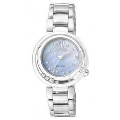 WATCH CITIZEN ECO DRIVE ROUND MOTHER OF PEARL DIAL STAINLESS STEEL DIAMOND SET CASE AND BRACELET 50M 30MM CASE - Jons Family Jewellers