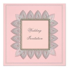 Lacy Patterned Flower Petals Frame Pink White  A pretty vintage inspired design in lovely shades of pink and white with a lacy patterned flower petal shapes frame.. Bound to impress your guests and set the tone for your perfect wedding day.