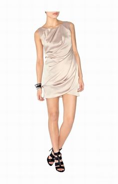 Karen Millen Neutral Draped Color uk-Karen Millen DL039 Neutral Draped Dress :