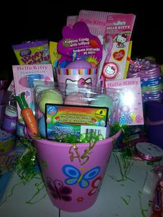 Minion and sophia the first easter baskets i made i make these hello kitty easter basket negle Choice Image