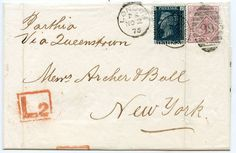 1871 2d blue + 1875 2½d rosy mauve on cover London to New York via Queenstown | eBay