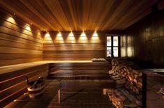 home spa design finnish sauna Indoor Sauna, Portable Sauna, Tiered Seating, Salt Room, Sauna Design, Finnish Sauna, Steam Sauna, Cost To Build, Steam Room