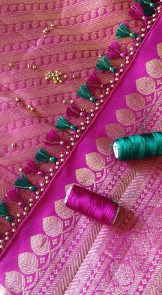 Saree Tassels Designs, Saree Kuchu Designs, Saree Blouse Neck Designs, Fancy Blouse Designs, Bridal Blouse Designs, Embroidery Suits Design, Hand Embroidery Designs, Broderie Simple, Saree Border