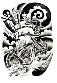 barco polvo desenho tattoo