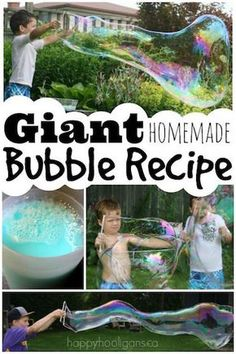 Giant Homemade Bubble Recipe with 5 Kitchen Ingredients for the biggest bubbles EVER - Happy Hooligans