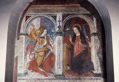 Annunciation, 1491, attributed to Carlo Crivelli... Annunciazione, 1491, attribuita a Carlo Crivelli (nato tra il 1430 e il 1435 circa-morto prima del 1495), affresco, chiesa di Sant'Agostino, Amatrice, Lazio, Italia.,