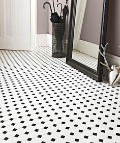 Shapes Octagon Matt White & Black Dot Mosaic | Topps Tiles