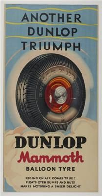 Poster advertising Dunlop tyres 'Another Dunlop Triumph'  Image:J Augier  Source:Museum Victoria