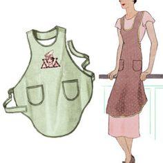 """Decades of Style 1928 One Yard Bias Cut Apron """"Flapper Apron"""" #2802"""