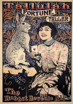 Fortune Teller Tallulah, The Rabbit Reveals All -- linocut gillian golding Gypsy Fortune Teller, Circus Poster, Rabbit Art, Fortune Telling, Tarot Readers, Illustration, Vintage Circus, Beatrix Potter, Tarot Decks