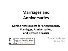 Genealogy Research with Marriage & Anniversary Records PowerPoint Presentation by GenealogyBank, via Slideshare