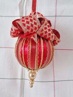Gold on Red Handmade Christmas Tree Ornament Fancy Trims & Beaded Bottom #BobbyeDene