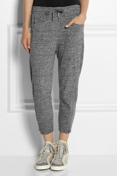 Adidas by Stella McCartney | Yoga cropped cotton-terry track pants | NET-A-PORTER.COM