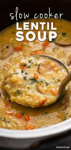 Slow Cooker Lentil Soup, Lentil Soup Recipes, Vegetarian Recipes, Healthy Recipes, Slow Cooker Recipes, Crockpot Recipes, Cooking Recipes, Slow Cooking, Winter Food