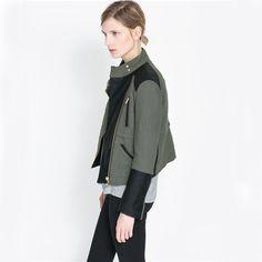 2014 new arrival winter fashion spliced long-sleeved diagonal zipper  jacket cotton Coats & Jackets