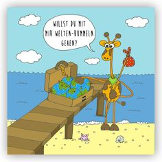 "@DieViecher , Cartoon , Comic , Giraffe , Giraffen , www.die-viecher.de , Die Viecher, Postkarte, Grußkarte, Karte Spruch, Spruchkarte, Karte mit Sprüchen, Brief, Briefpapier, Kartenset, Grusskarte, Tiere, Freundschaft, Partnerschaft, Liebe,  Postkarte ""Willst du mit mir Welten-Bummeln gehen?"" Freundschaft Liebe Welt Reisen Weltreise Backpacker Backpacking Urlaub Partnerschaft Abenteuer Weltenbummler: Amazon.de: Bürobedarf & Schreibwaren"