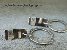 Weathered Relic earrings  Sterling silver and gold fill mixed metal, torch textured earrings $48. by JoDeneMoneuseJewelry
