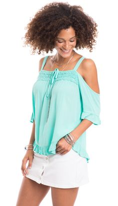 Bahamas Babe Crochet Trim Open Shoulder Top