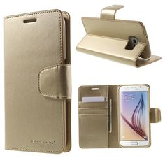 For Galaxy S6 Genuine MERCURY Goospery Gold Leather Flip Case Wallet Cover