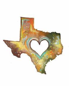 Texas Print State Wall Art Watercolor Artwork by thewheatfield Acrylic Artwork, Watercolor Artwork, Map Painting, Daisy Painting, Watercolor Bird, Houston, Texas Forever, Loving Texas, Texas Pride