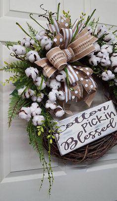 Cotton Pickin Blessed WreathCotton WreathSummer