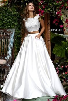 Cap Sleeve Sherri Hill 50088 Ivory Two Piece Prom Dress Prom Dresses 2016, Grad Dresses, Quinceanera Dresses, Evening Dresses, Bridesmaid Dresses, Formal Dresses, Ivory Dresses, Xv Dresses, White Homecoming Dresses