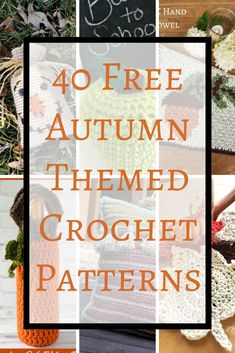 Here s a list of 40 free autumn themed crochet patterns for you! Great for gifts. Includes hats, scarves, home decor, ornaments, baby dress amp; Crochet Fall, Crochet World, Diy Crochet, Crochet Ideas, Crochet Tutorials, Thanksgiving Crochet, Dress Tutorials, Mug Rug Patterns, Knitting Patterns