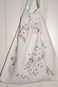 vintage linen drawstring bag