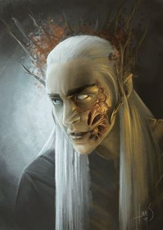 Though it is not really described in the film, and barely mentioned in the book, it is highly likely that Thranduil and his kin have fought the great snakes of the north, with their acidic venom. But the magic of the Elves gives him the means of hiding it from his people
