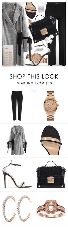 """Unique blazer with bows"" by vn1ta ❤ liked on Polyvore featuring Theory, GUESS and Gianvito Rossi"