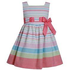 Bonnie Jean Stripe Ribbon Dress - Toddler Girl