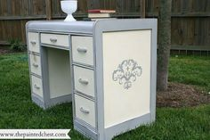 waterfall dressing table, chalk paint, painted furniture, The stencil gives this gives this piece a little whimsy and fun